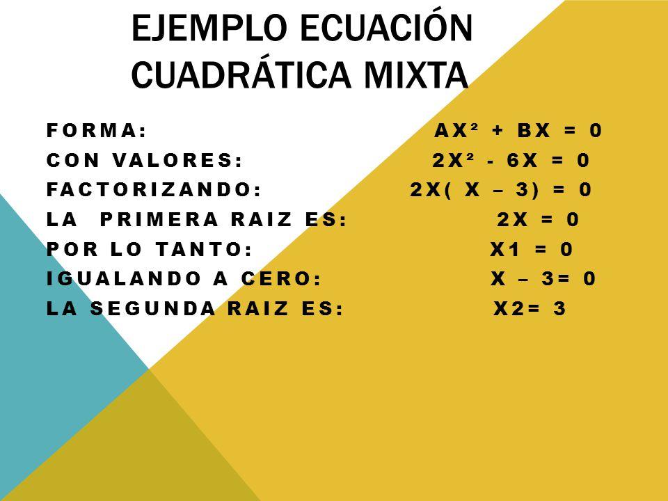 EJEMPLO ECUACIÓN CUADRÁTICA MIXTA FORMA: AX² + BX = 0 CON VALORES: 2X² - 6X = 0 FACTORIZANDO: 2X( X – 3) = 0 LA PRIMERA RAIZ ES: 2X = 0 POR LO TANTO: X1 = 0 IGUALANDO A CERO: X – 3= 0 LA SEGUNDA RAIZ ES: X2= 3