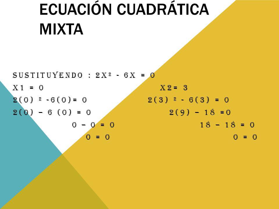 ECUACIÓN CUADRÁTICA MIXTA SUSTITUYENDO : 2X² - 6X = 0 X1 = 0 X2= 3 2(0) ² -6(0)= 0 2(3) ² - 6(3) = 0 2(0) – 6 (0) = 0 2(9) – 18 =0 0 – 0 = 0 18 – 18 = 0 0 = 0 0 = 0