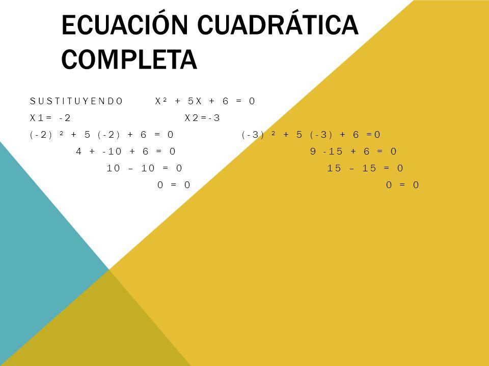 ECUACIÓN CUADRÁTICA COMPLETA SUSTITUYENDO X² + 5X + 6 = 0 X1= -2 X2=-3 (-2) ² + 5 (-2) + 6 = 0 (-3) ² + 5 (-3) + 6 =0 4 + -10 + 6 = 0 9 -15 + 6 = 0 10 – 10 = 0 15 – 15 = 0 0 = 0 0 = 0