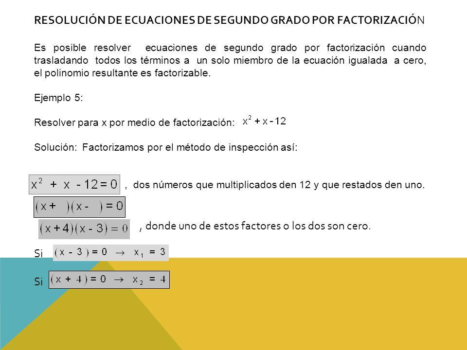 RESOLUCIÓN DE ECUACIONES DE SEGUNDO GRADO POR FACTORIZACIÓN Es posible resolver ecuaciones de segundo grado por factorización cuando trasladando todos los términos a un solo miembro de la ecuación igualada a cero, el polinomio resultante es factorizable.
