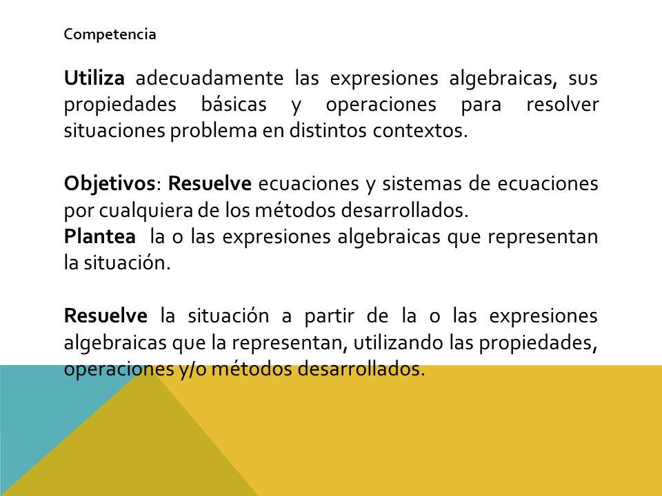 Competencia Utiliza adecuadamente las expresiones algebraicas, sus propiedades básicas y operaciones para resolver situaciones problema en distintos contextos.