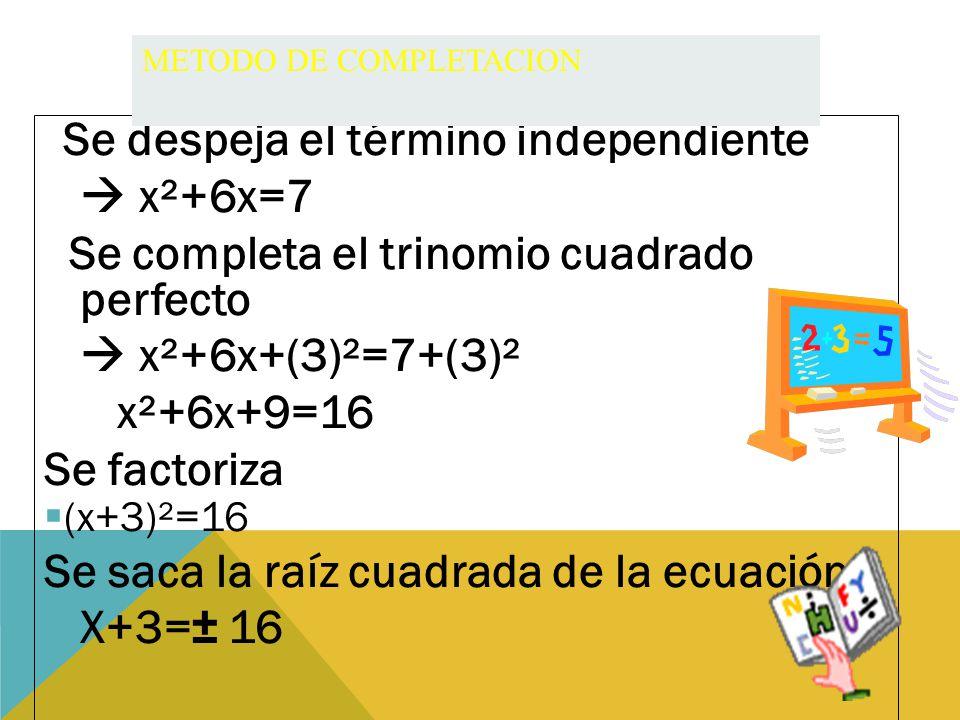 Se despeja el término independiente  x²+6x=7 Se completa el trinomio cuadrado perfecto  x²+6x+(3)²=7+(3)² x²+6x+9=16 Se factoriza ((x+3)²=16 Se saca la raíz cuadrada de la ecuación X+3=± 16 METODO DE COMPLETACION