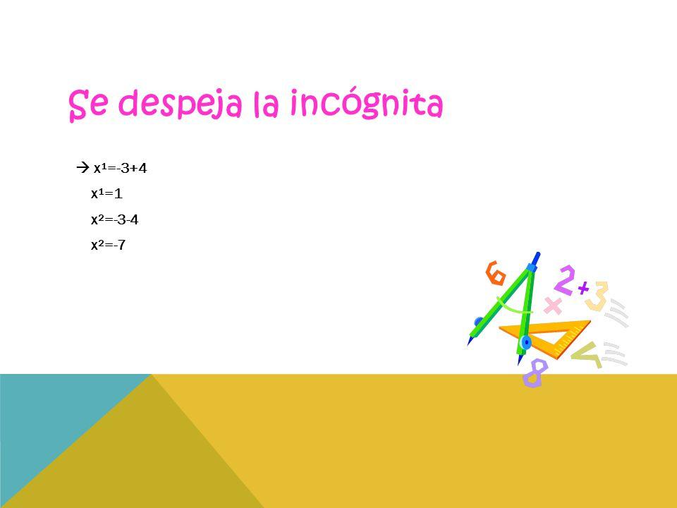 Se despeja la incógnita  x¹=-3+4 x¹=1 x²=-3-4 x²=-7