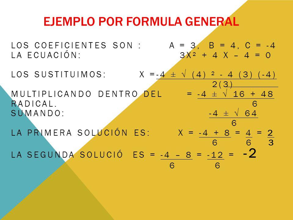 EJEMPLO POR FORMULA GENERAL LOS COEFICIENTES SON : A = 3, B = 4, C = -4 LA ECUACIÓN: 3X² + 4 X – 4 = 0 LOS SUSTITUIMOS: X =-4 ± √ (4) ² - 4 (3) (-4) 2(3) MULTIPLICANDO DENTRO DEL = -4 ± √ 16 + 48 RADICAL.