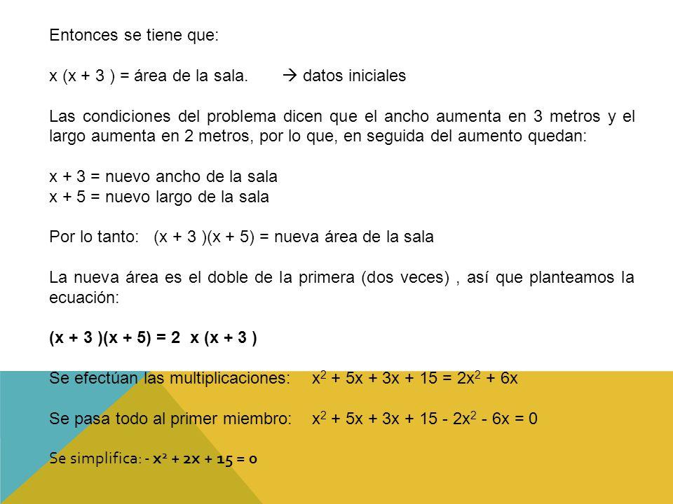 Entonces se tiene que: x (x + 3 ) = área de la sala.