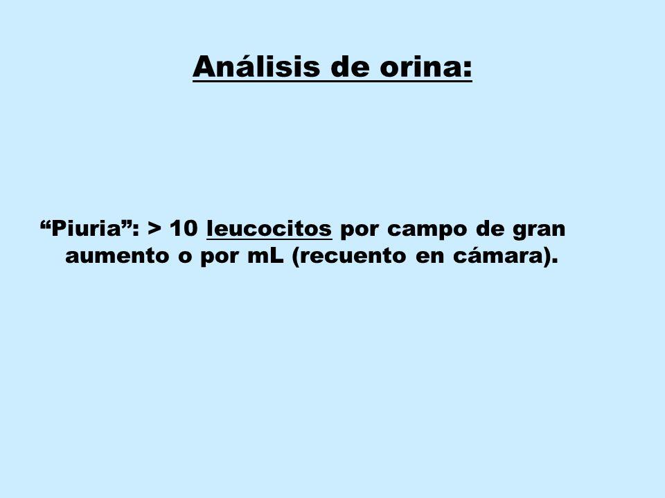 Análisis de orina: Piuria : > 10 leucocitos por campo de gran aumento o por mL (recuento en cámara).