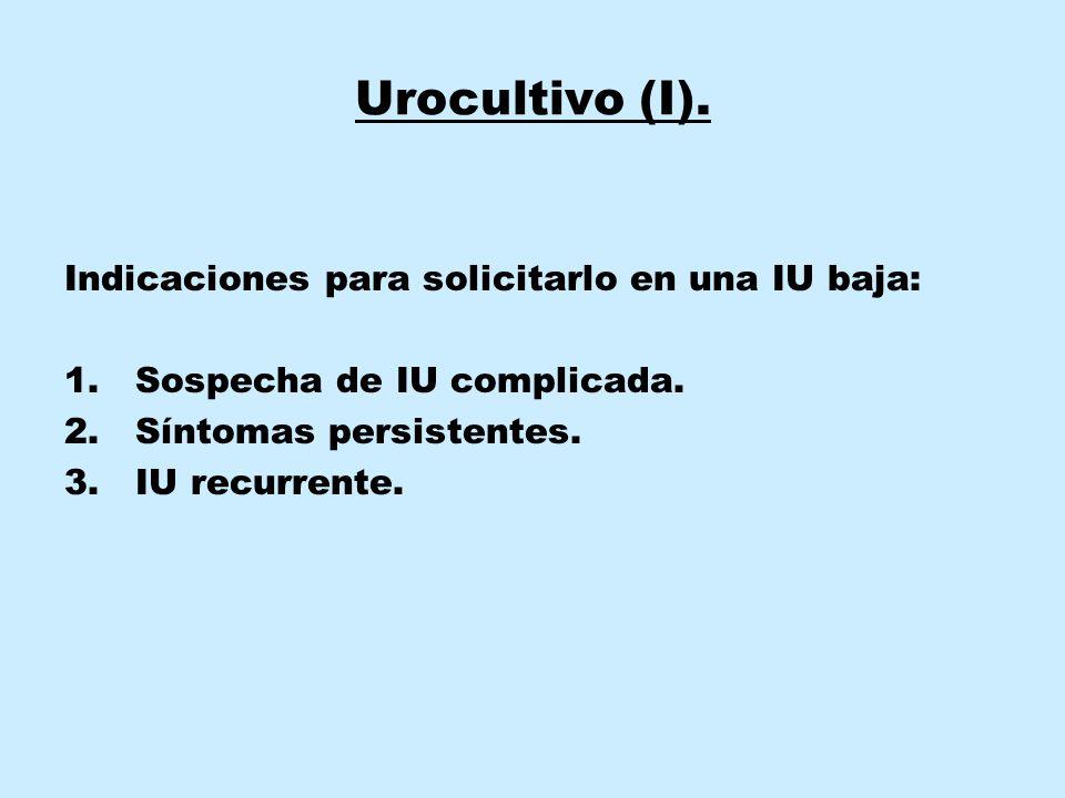 Urocultivo (I).Indicaciones para solicitarlo en una IU baja: 1.Sospecha de IU complicada.