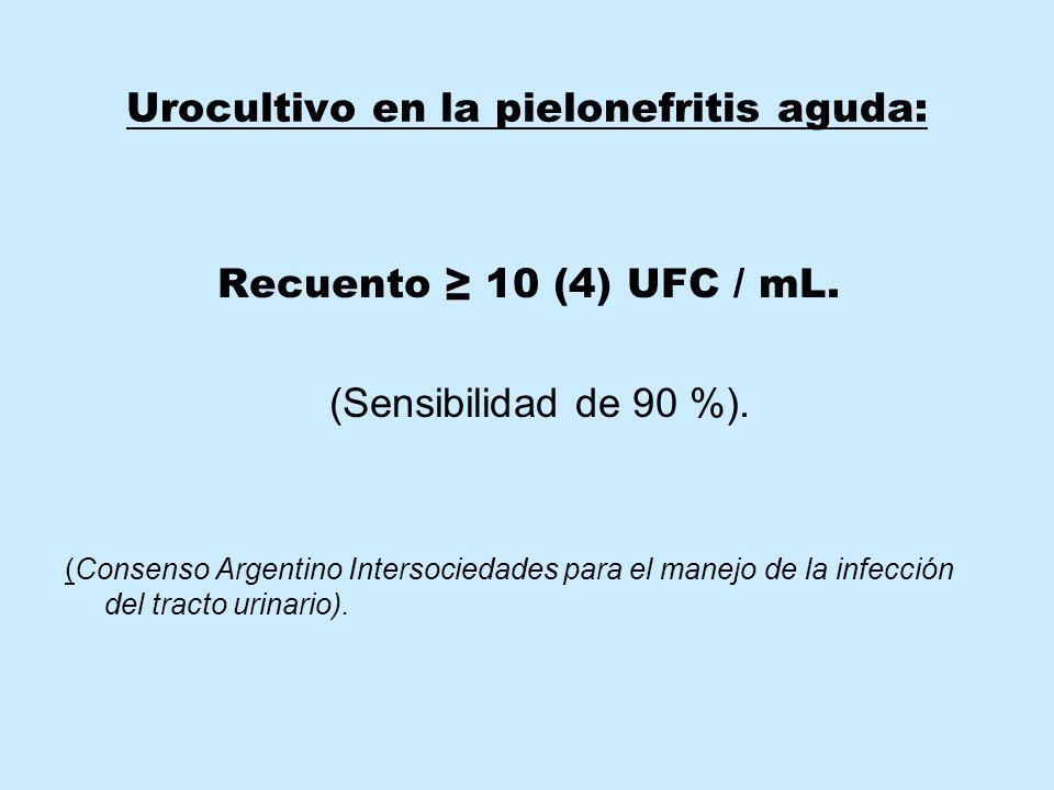 Urocultivo en la pielonefritis aguda: Recuento ≥ 10 (4) UFC / mL.