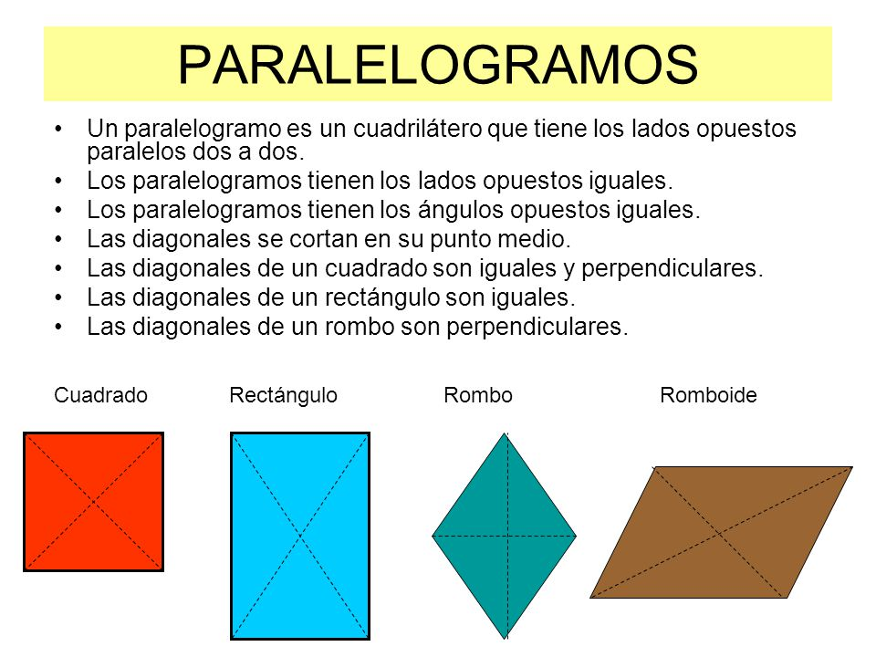 PARALELOGRAMOS Un paralelogramo es un cuadrilátero que tiene los lados opuestos paralelos dos a dos. Los paralelogramos tienen los lados opuestos igua