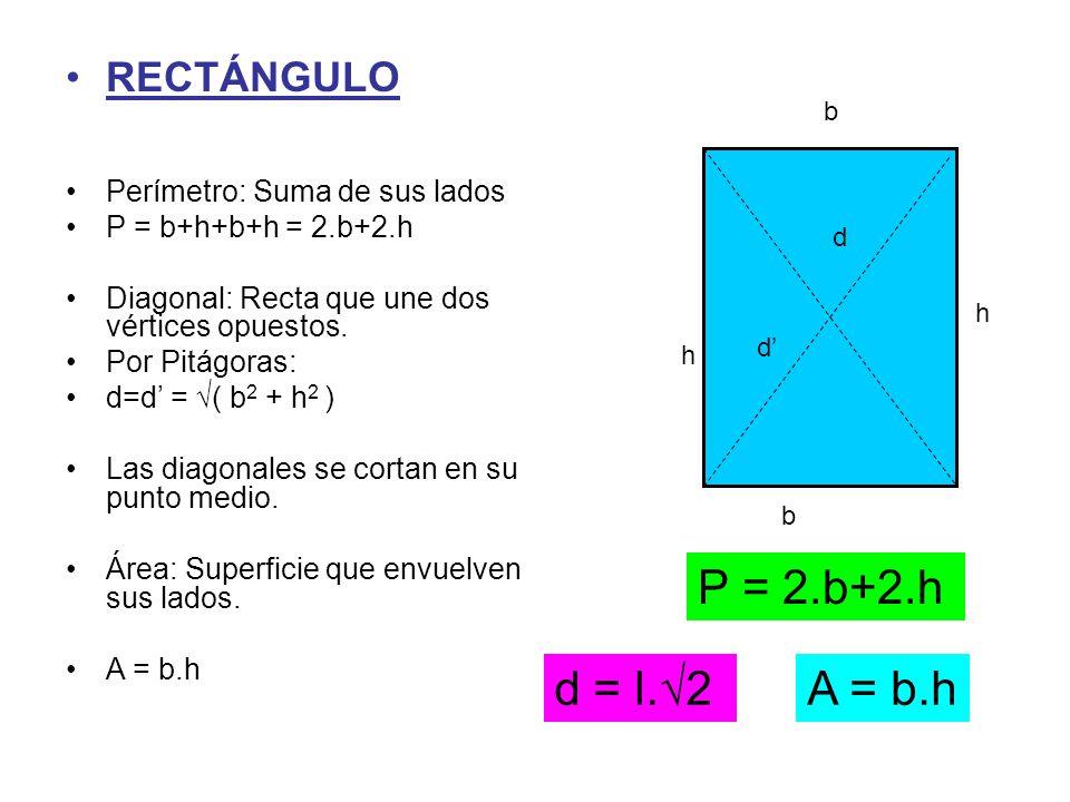 b h RECTÁNGULO Perímetro: Suma de sus lados P = b+h+b+h = 2.b+2.h Diagonal: Recta que une dos vértices opuestos. Por Pitágoras: d=d' = √( b 2 + h 2 )