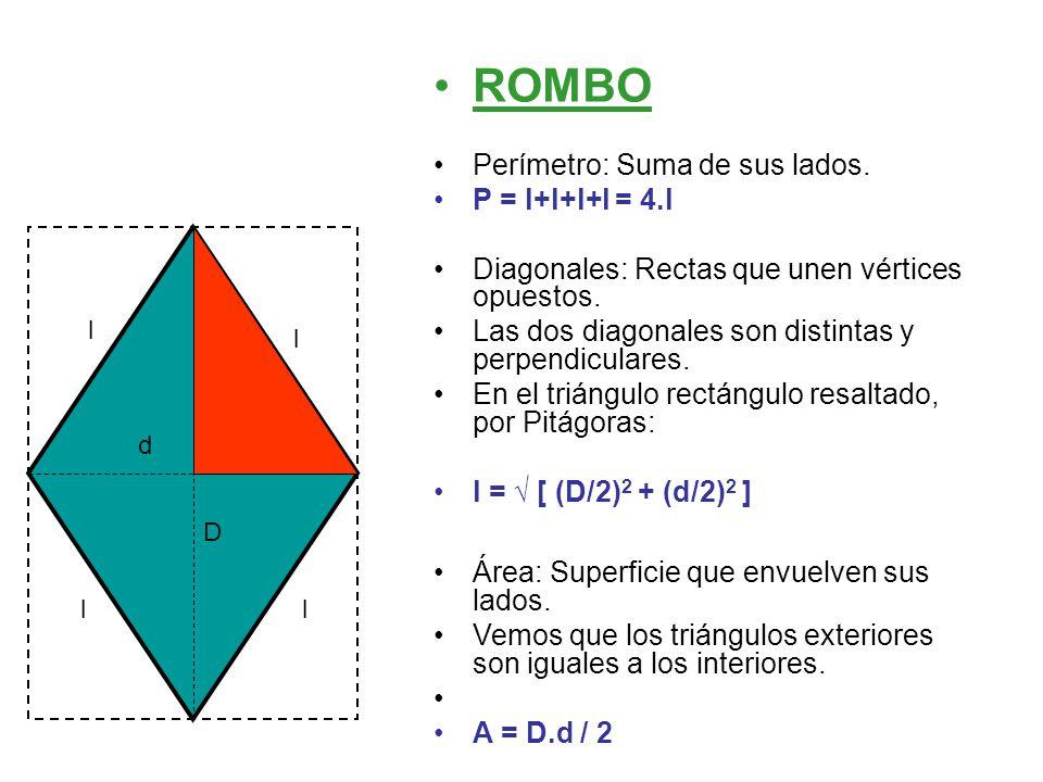 ROMBO Perímetro: Suma de sus lados. P = l+l+l+l = 4.l Diagonales: Rectas que unen vértices opuestos. Las dos diagonales son distintas y perpendiculare