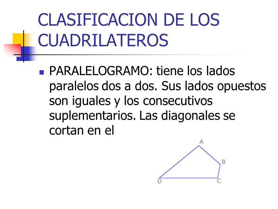 CLASIFICACION DE LOS CUADRILATEROS PARALELOGRAMO: tiene los lados paralelos dos a dos. Sus lados opuestos son iguales y los consecutivos suplementario