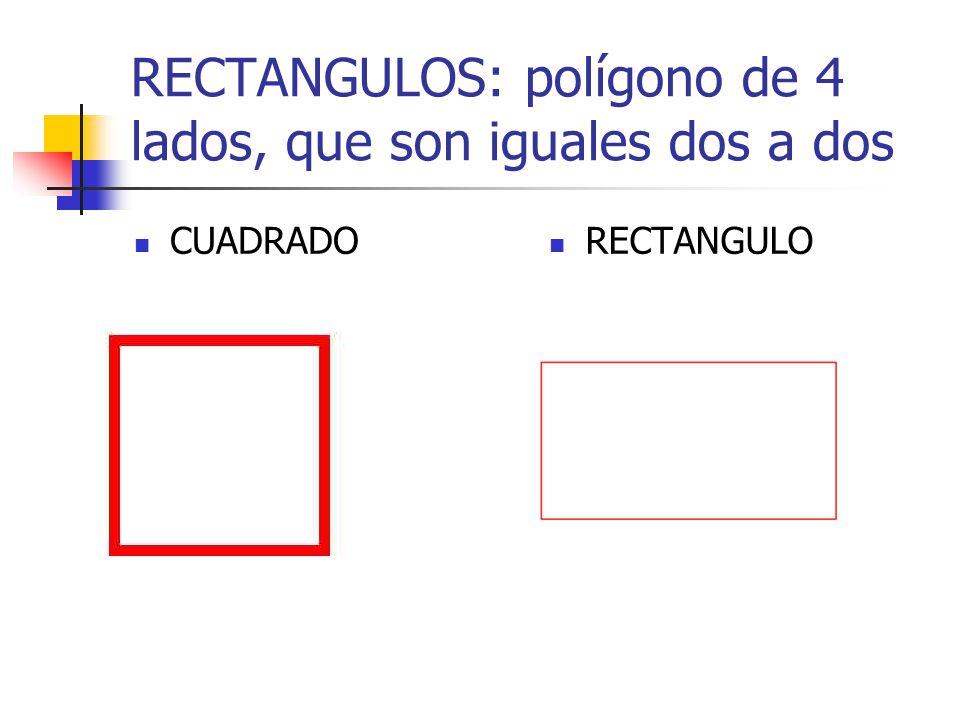 RECTANGULOS: polígono de 4 lados, que son iguales dos a dos CUADRADO RECTANGULO