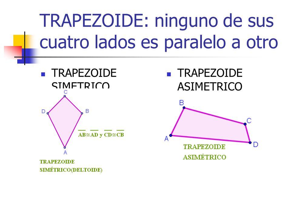 TRAPEZOIDE: ninguno de sus cuatro lados es paralelo a otro TRAPEZOIDE SIMETRICO TRAPEZOIDE ASIMETRICO