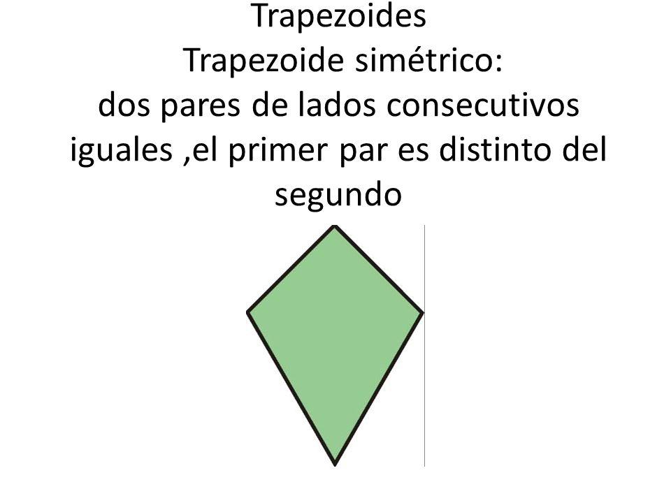 Trapezoides Trapezoide simétrico: dos pares de lados consecutivos iguales,el primer par es distinto del segundo
