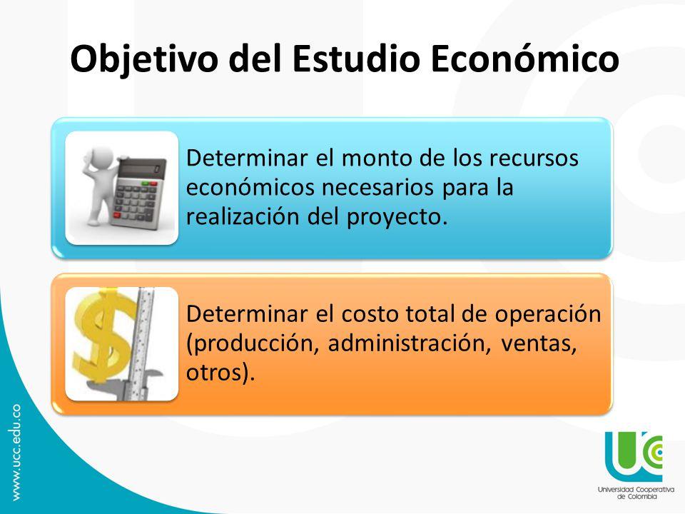 Objetivo del Estudio Económico Determinar el monto de los recursos económicos necesarios para la realización del proyecto. Determinar el costo total d