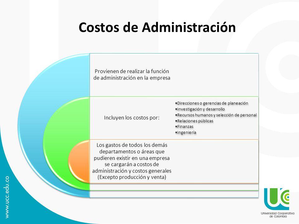 Provienen de realizar la función de administración en la empresa Incluyen los costos por: Los gastos de todos los demás departamentos o áreas que pudi