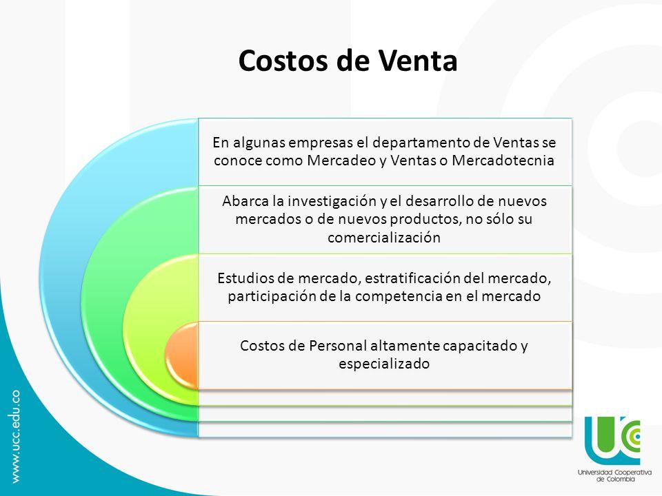 En algunas empresas el departamento de Ventas se conoce como Mercadeo y Ventas o Mercadotecnia Abarca la investigación y el desarrollo de nuevos merca