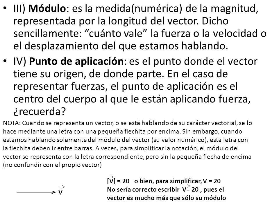 """III) Módulo: es la medida(numérica) de la magnitud, representada por la longitud del vector. Dicho sencillamente: """"cuánto vale"""" la fuerza o la velocid"""