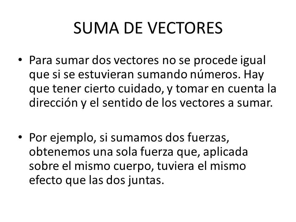 SUMA DE VECTORES Para sumar dos vectores no se procede igual que si se estuvieran sumando números. Hay que tener cierto cuidado, y tomar en cuenta la