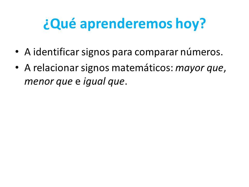 ¿Qué aprenderemos hoy? A identificar signos para comparar números. A relacionar signos matemáticos: mayor que, menor que e igual que.