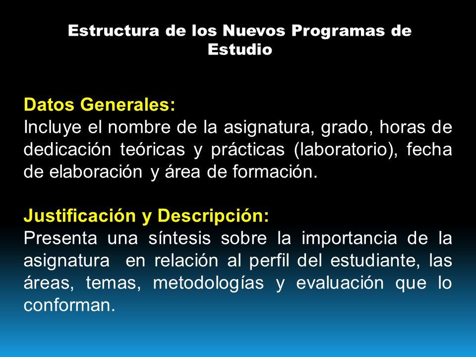Estructura de los Nuevos Programas de Estudio Datos Generales: Incluye el nombre de la asignatura, grado, horas de dedicación teóricas y prácticas (laboratorio), fecha de elaboración y área de formación.
