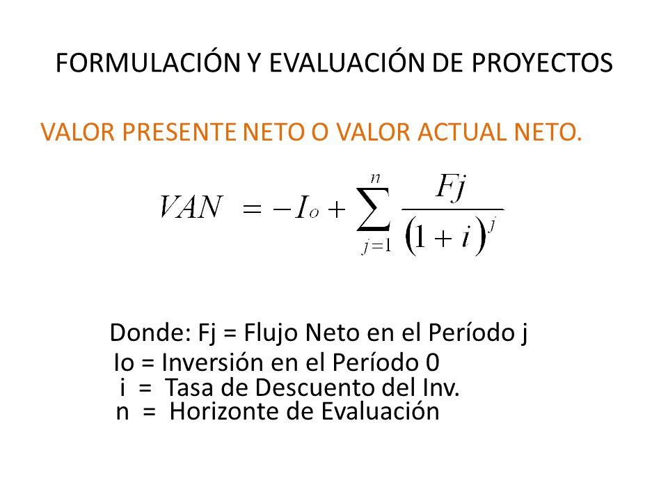 FORMULACIÓN Y EVALUACIÓN DE PROYECTOS VALOR PRESENTE NETO O VALOR ACTUAL NETO.