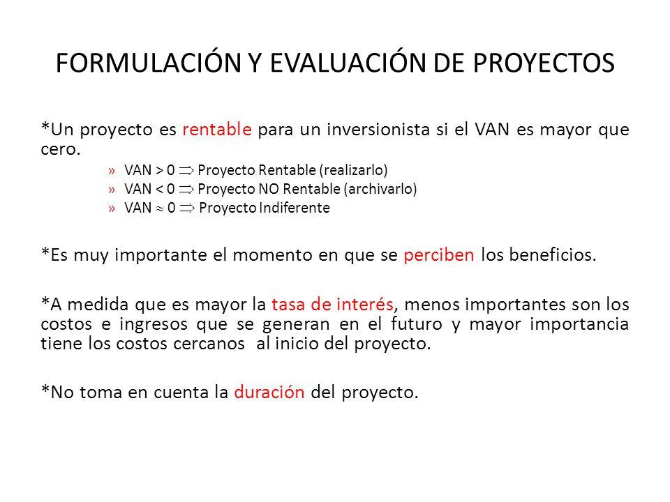 FORMULACIÓN Y EVALUACIÓN DE PROYECTOS *Un proyecto es rentable para un inversionista si el VAN es mayor que cero.