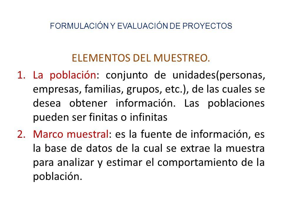 FORMULACIÓN Y EVALUACIÓN DE PROYECTOS ELEMENTOS DEL MUESTREO.