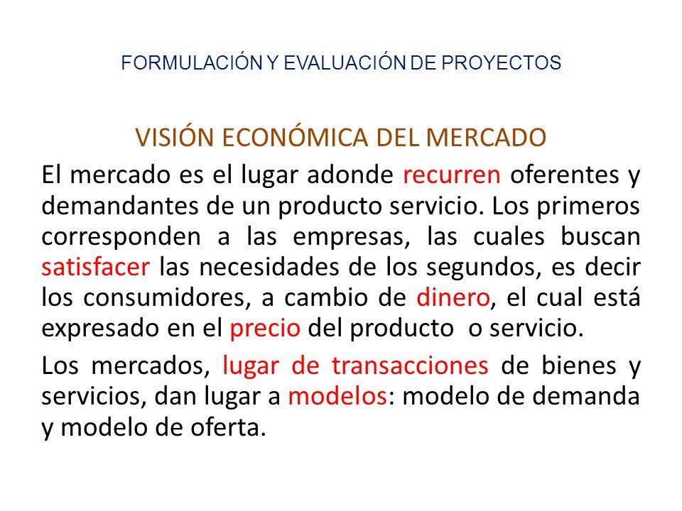 FORMULACIÓN Y EVALUACIÓN DE PROYECTOS VISIÓN ECONÓMICA DEL MERCADO El mercado es el lugar adonde recurren oferentes y demandantes de un producto servicio.