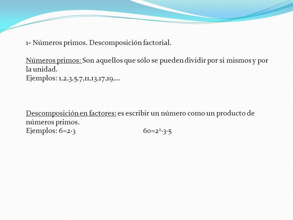 1- Números primos.Descomposición factorial.