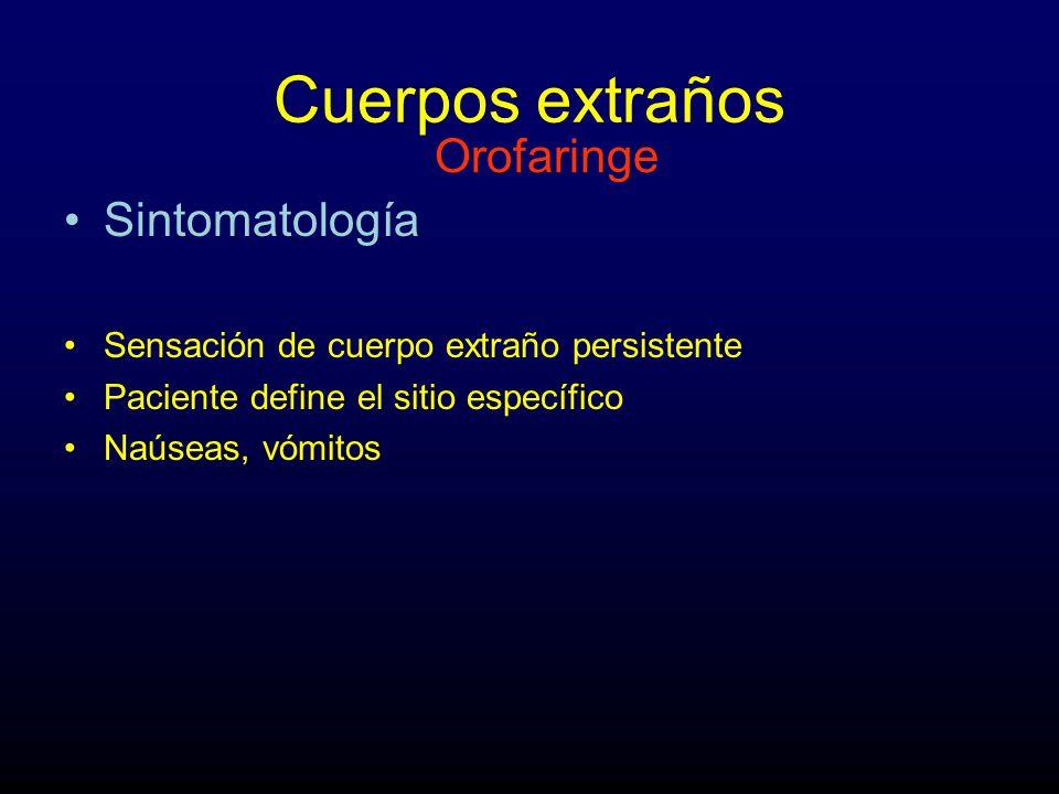 Cuerpos extraños Sintomatología Sensación de cuerpo extraño persistente Paciente define el sitio específico Naúseas, vómitos Orofaringe