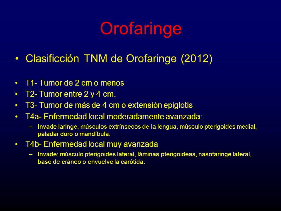 Orofaringe Clasificción TNM de Orofaringe (2012) T1- Tumor de 2 cm o menos T2- Tumor entre 2 y 4 cm.