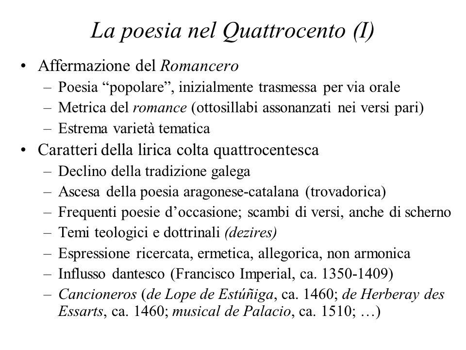 La poesia nel Quattrocento (I) Affermazione del Romancero –Poesia popolare, inizialmente trasmessa per via orale –Metrica del romance (ottosillabi ass