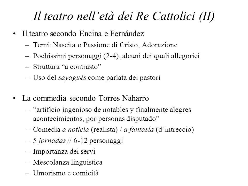 Il teatro nelletà dei Re Cattolici (II) Il teatro secondo Encina e Fernández –Temi: Nascita o Passione di Cristo, Adorazione –Pochissimi personaggi (2