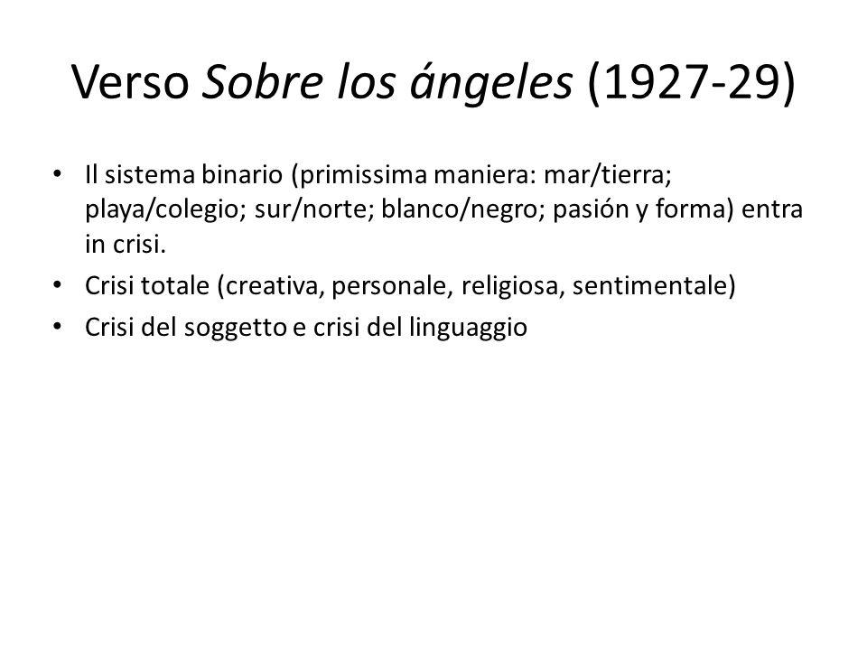 Verso Sobre los ángeles (1927-29) Il sistema binario (primissima maniera: mar/tierra; playa/colegio; sur/norte; blanco/negro; pasión y forma) entra in
