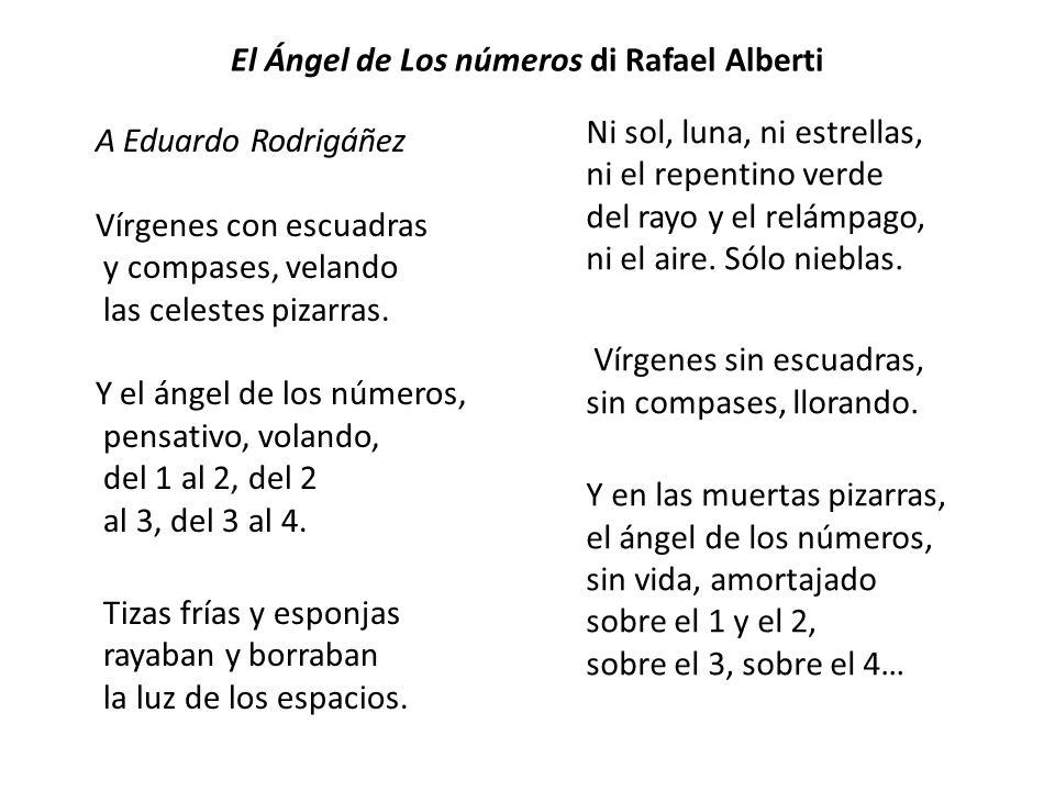 El Ángel de Los números di Rafael Alberti A Eduardo Rodrigáñez Vírgenes con escuadras y compases, velando las celestes pizarras. Y el ángel de los núm