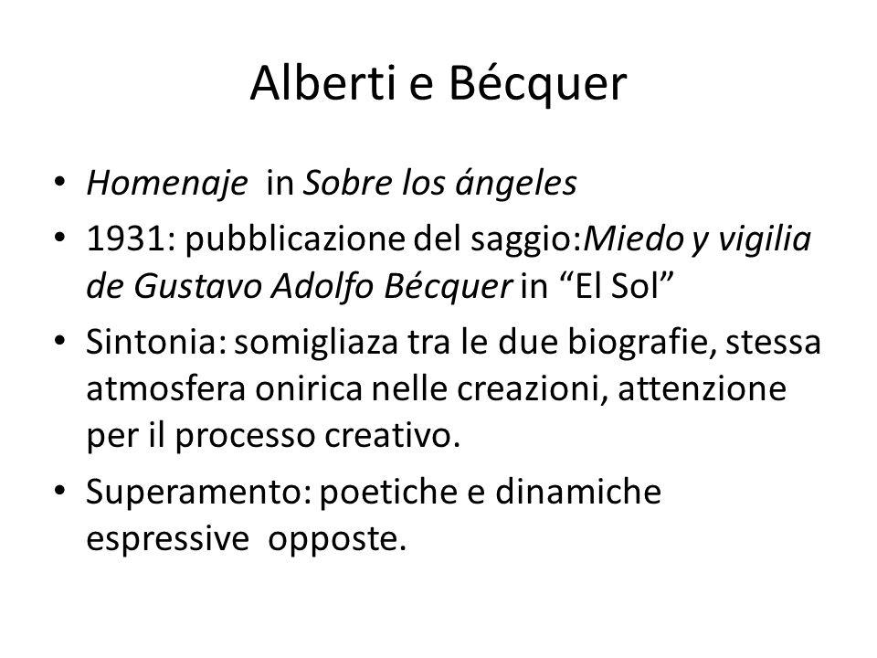 Alberti e Bécquer Homenaje in Sobre los ángeles 1931: pubblicazione del saggio:Miedo y vigilia de Gustavo Adolfo Bécquer in El Sol Sintonia: somigliaz