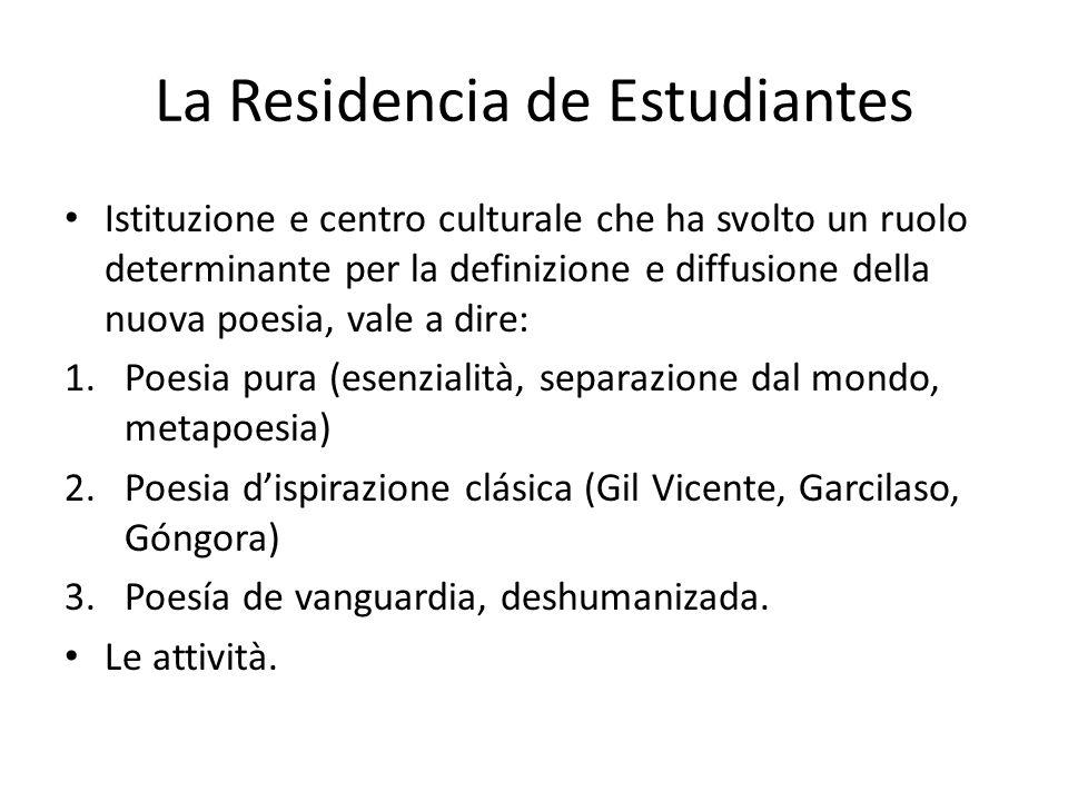 La Residencia de Estudiantes Istituzione e centro culturale che ha svolto un ruolo determinante per la definizione e diffusione della nuova poesia, va