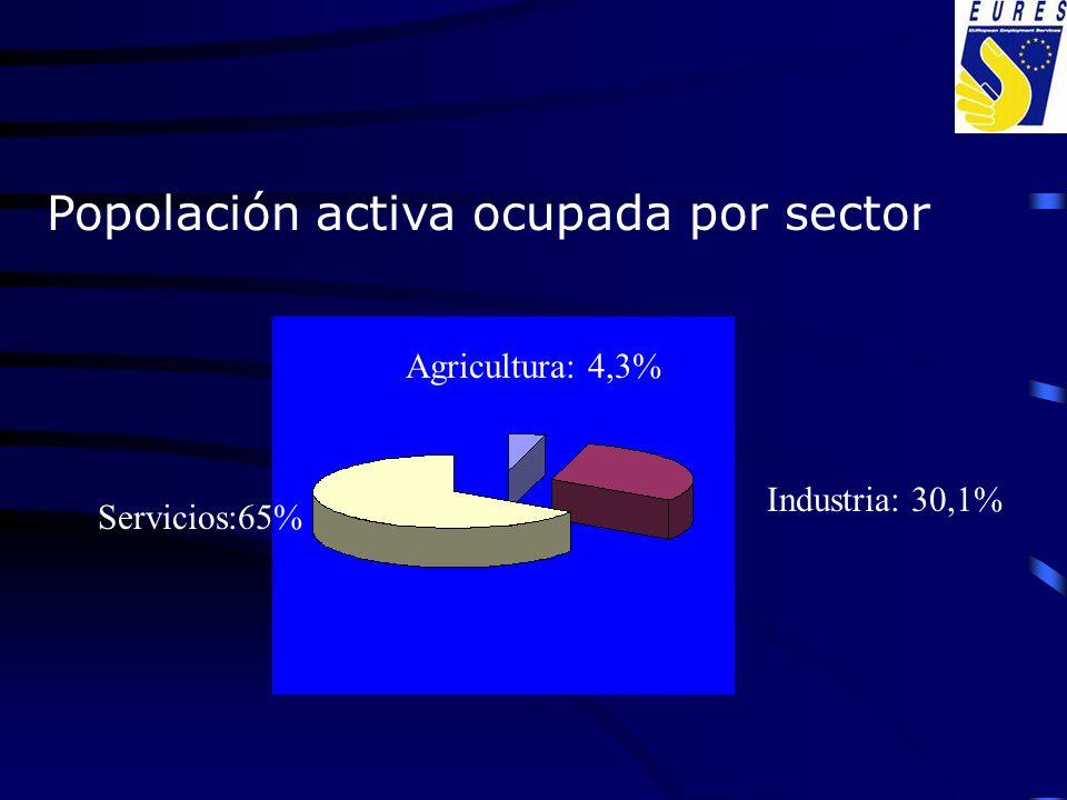 Popolación activa ocupada por sector Agricultura: 4,3% Servicios:65% Industria: 30,1%
