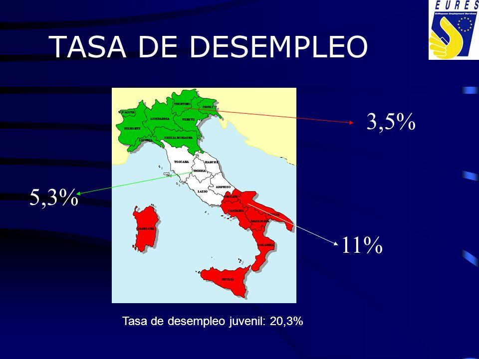 TASA DE DESEMPLEO Tasa de desempleo juvenil: 20,3% 3,5% 11% 5,3%