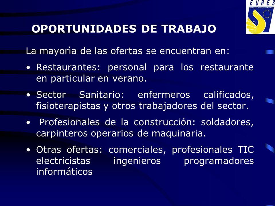 OPORTUNIDADES DE TRABAJO La mayorìa de las ofertas se encuentran en: Restaurantes: personal para los restaurante en particular en verano. Sector Sanit