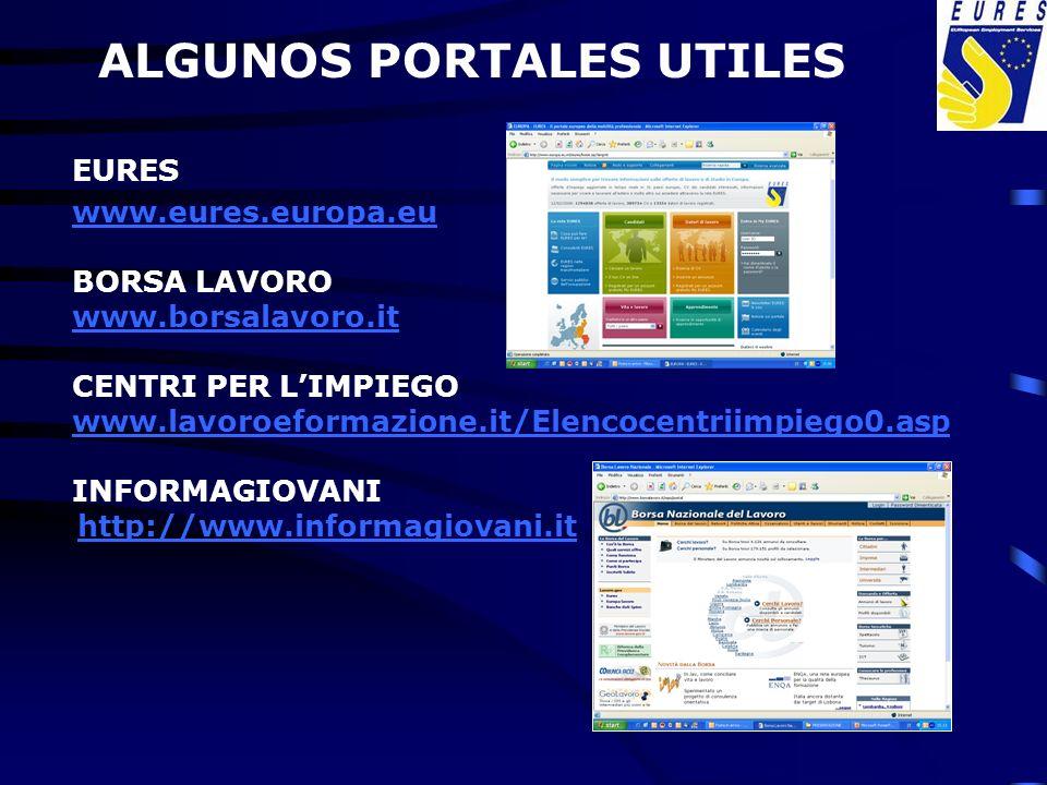 EURES www.eures.europa.eu BORSA LAVORO www.borsalavoro.it CENTRI PER LIMPIEGO www.lavoroeformazione.it/Elencocentriimpiego0.asp INFORMAGIOVANI http://