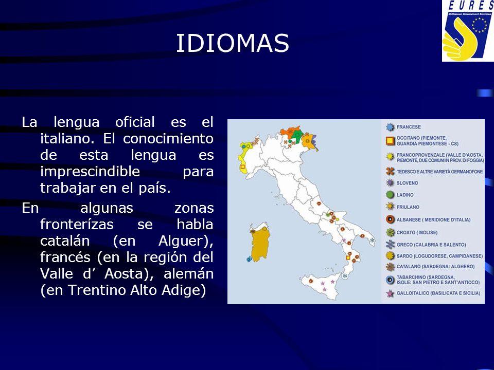 La lengua oficial es el italiano. El conocimiento de esta lengua es imprescindible para trabajar en el país. En algunas zonas fronterízas se habla cat