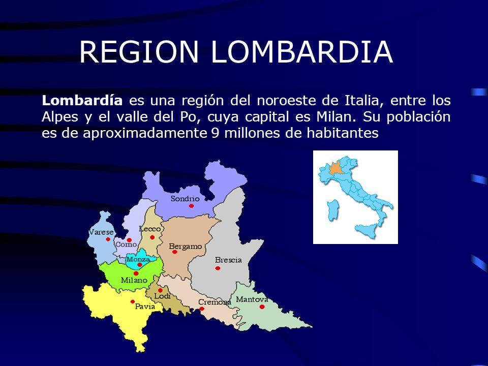 REGION LOMBARDIA Lombardía es una región del noroeste de Italia, entre los Alpes y el valle del Po, cuya capital es Milan. Su población es de aproxima