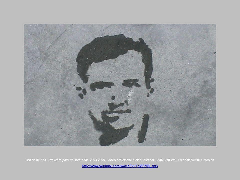 Óscar Muñoz, Proyecto para un Memorial, 2003-2005, video proiezione a cinque canali, 200x 250 cm., Biennale Ve 2007, foto elf http://www.youtube.com/w