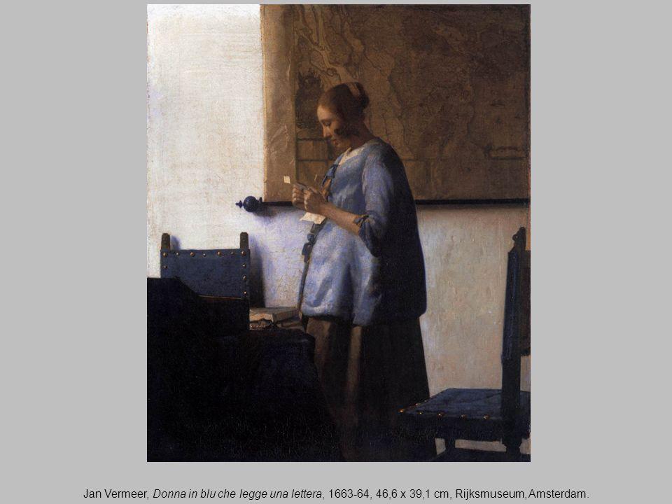 Jan Vermeer, Donna in blu che legge una lettera, 1663-64, 46,6 x 39,1 cm, Rijksmuseum, Amsterdam.