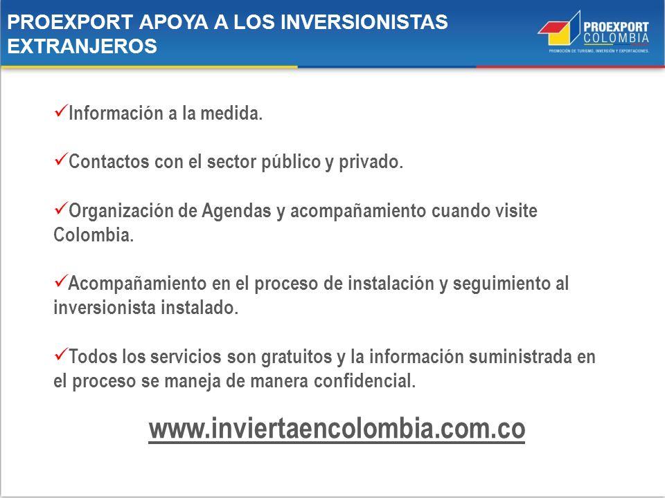 PROEXPORT APOYA A LOS INVERSIONISTAS EXTRANJEROS www.inviertaencolombia.com.co Información a la medida. Contactos con el sector público y privado. Org
