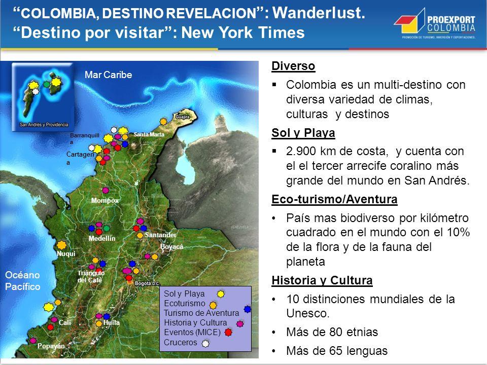 Diverso Colombia es un multi-destino con diversa variedad de climas, culturas y destinos Sol y Playa 2.900 km de costa, y cuenta con el el tercer arre