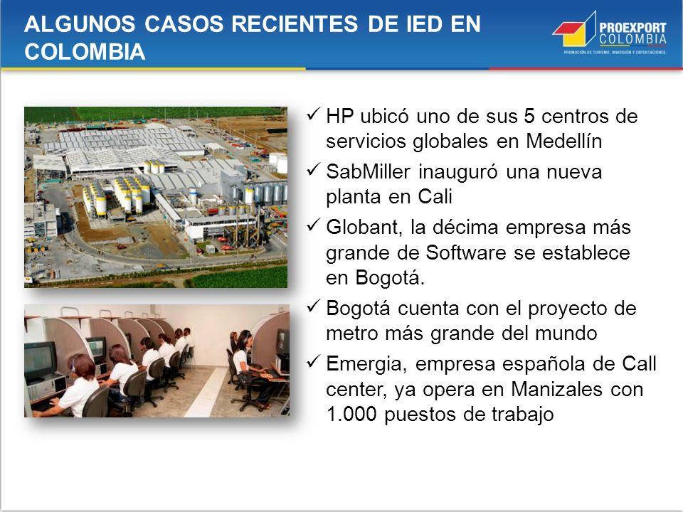 Mar Caribe HP ubicó uno de sus 5 centros de servicios globales en Medellín SabMiller inauguró una nueva planta en Cali Globant, la décima empresa más
